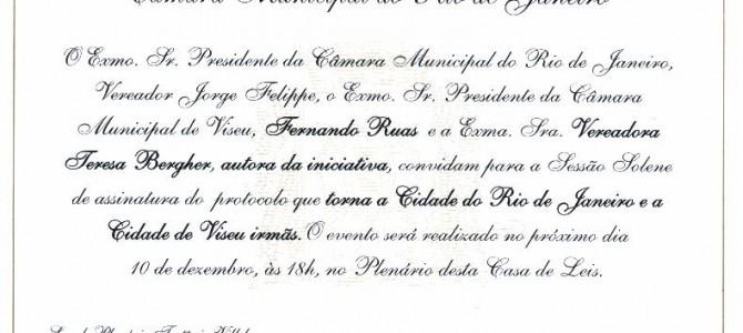 Convite Oficial para a Geminação da Cidade de Viseu com a Cidade do Rio de Janeiro